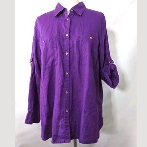 Ralph Lauren 1X Linen Shirt Purple Gold Buttons